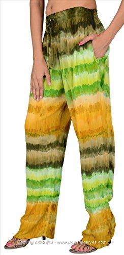 Faldas y bufandas de las mujeres Rayón Tie and Dye para hombre/pijama/Inferior/pantalones Green & Multi