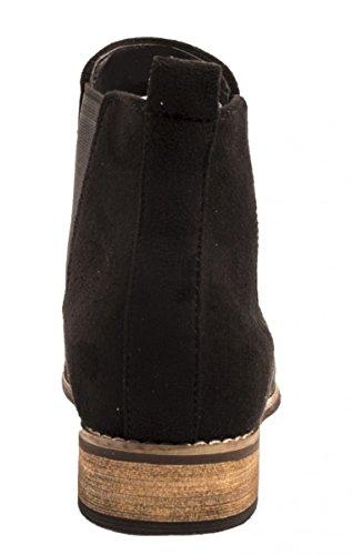 Damen Boots Elara Stiefeletten Wildlederoptik Chelsea Schwarz Bequeme Blockabsatz vwx6Sqfd