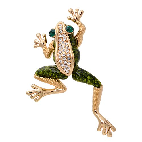 OBONNIE Vintage Gold Tone Crystal Green Enamel Frog Brooch Pin Lucky Symbol Animal (Austrian Crystal Frog Pin)