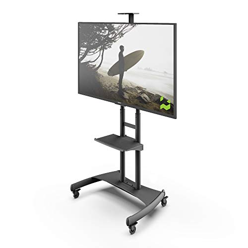 Kanto MTM82PL Height Adjustable Mobile TV Stand with Adjustable Shelf for 50-inch to 82-inch TVs