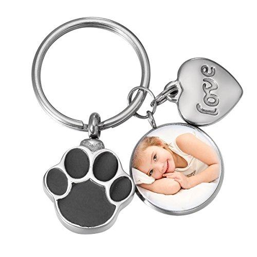 SG Cremation Jewelry Dog Pet Paw Urn Keychain Personalized Custom Photo Locket Memorial Gift
