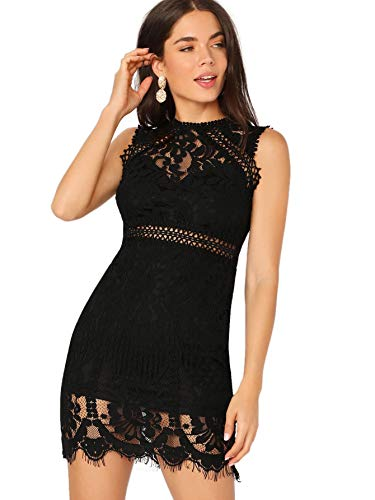 Verdusa Women's Sleeveless Scalloped Hem Fitted Floral Lace Bodycon Dress Black XS