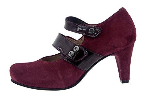 Calzado mujer confort de piel con plantilla Piesanto 5228 merceditas zapato vestir cómodo ancho Burdeos