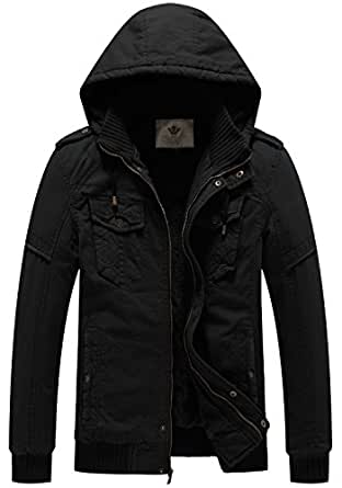 WenVen Men's Winter Fleece Jacket with Hood Thicken Coat