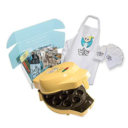 Patty Cake Making Baking Fun Bundle with Electric Baker, 4 Tray Sets, Baking Mixes, Apron Set, Instructions & Recipes
