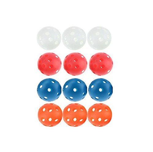 Adahill(TM) 12PCS x 72MM Mixed Colors Floorball Pickleball Plastic Airflow Wiffle Ball Hollow Indoor Practice Ball Baseball Fun-air Scoop Ball