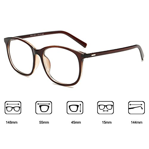 Hommes Femmes lunettes - Transparents Lunettes Cadre - Lunettes + Etui Verres Gratuit - hibote # 122804 Marron
