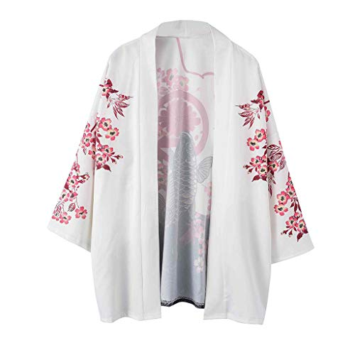 (Xlala Lovers Clothing Men's Top Fashion Retro Robe Loose National Cherry Blossoms Carp Print Short Sleeve Casual T Shirt Vacation Sunscreen Coat (L))