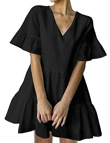 Pleated Tiered Black Dress - FANCYINN Women's Cute Shift Dress with Pockets Fully Lined Bell Sleeve V Neck Loose Swing Tunic Mini Dress Black M