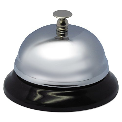 Advantus Call Bell, 3.38 Inch Diameter, Brushed Nickel with Black Base (CB10000) - Sold As Pack of 6