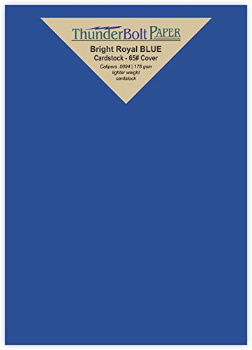 125 Bright Royal Blue 65# Cardstock Paper 5'' X 7'' (5X7 Inches) Photo|Card|Frame Size - 65Cover/45Bond Light Weight Card Stock - Bright Printable Smooth Paper Surface by ThunderBolt Paper