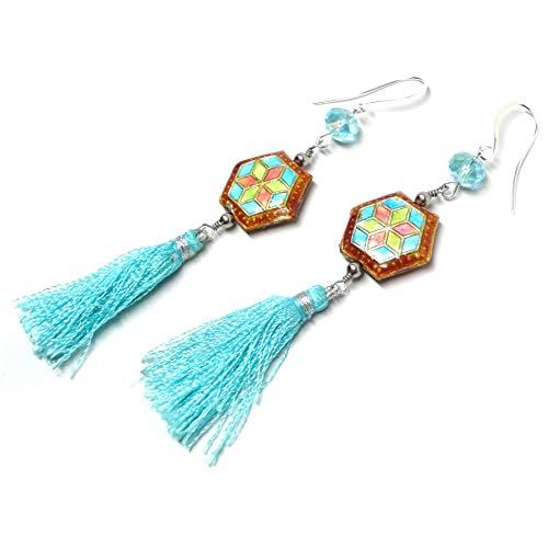 - Chinese Cloisonne Enamel Hexagram Turquoise-Color Tassel Earrings