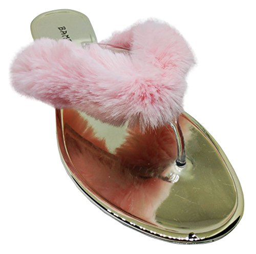Bamboo Faux Fur Flat Thong Sandal, Flat Slip On Slipper w Clear Lucite Strap Pink