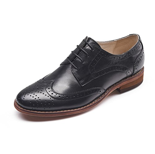 U-lite Black Perforated Lace-up Wingtip Leather Flat Oxfords Vintage Oxford Shoe Womens 9 blk ()