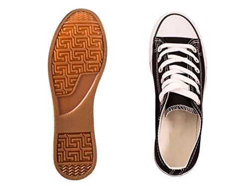 Elara Unisex Sneaker | Bequeme Sportschuhe Für Damen und Herren | Low Top Turnschuh Textil Schuhe 36-46 Schwarz Basic