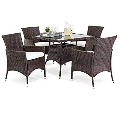 Best Choice Products 5-Piece Indoor Outdoor Wicker Patio Dining Set Furniture w/Square Glass Top Table, Umbrella Cutout, 4 Chairs - Brown - MODERN OUTDOOR FURNITURE SET: This 5-piece wicker dining set is made with a stylish, modern design that includes a square table with 4 comfortable matching chairs ALL-WEATHER WICKER: Durably designed to withstand unfavorable weather conditions, making this functional set great for your outdoor living space year round TEMPERED GLASS TABLETOP: Table is crafted with a tempered glass top for an added hint of elegance to your patio or poolside, while the 1.5-inch hole lets you add an umbrella for shade - patio-furniture, dining-sets-patio-funiture, patio - 41yEX7SuYIL. SS400  -