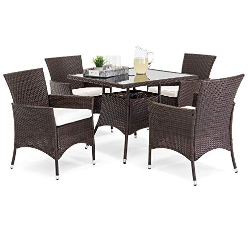 - Best Choice Products 5-Piece Indoor Outdoor Wicker Patio Dining Set Furniture w/Square Glass Top Table, Umbrella Cut Out, 4 Chairs - Brown