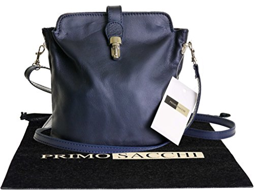 Italian Soft Leather, Small Navy Blue Cross Body or Shoulder Bag Handbag. Includes a Branded Protective Dust Bag.