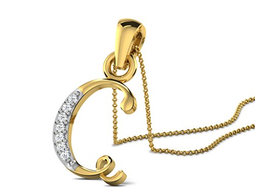 "Or Jaune 14 ct Pendentifs Diamant en forme de Alphabet ""C"", 0.02 Ct Diamant, GH-SI, 0.47 grammes."