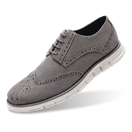 Men's Oxford Sneaker Dress Shoes-Stylish Wingtip Brogue Oxfords Casual Suede Shoes Work Travel Gift Grey-75 D (M) US