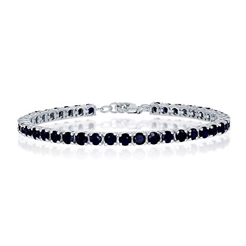 (Sterling Silver Sapphire Gemstone 4mm Tennis Bracelet (September Birthstone))