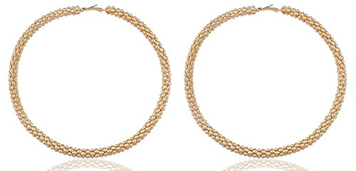 Goldtone Mesh Pattern Large 4 Inch Hoop Earrings (E-828)