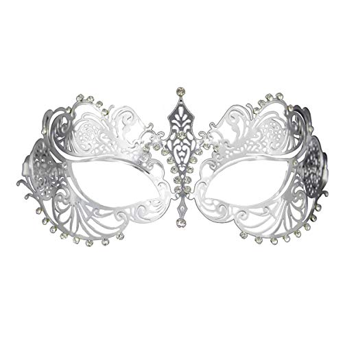 Crown Laser Cut Metal Women's Masquerade Mask Mardi Gras - Crown Venetian