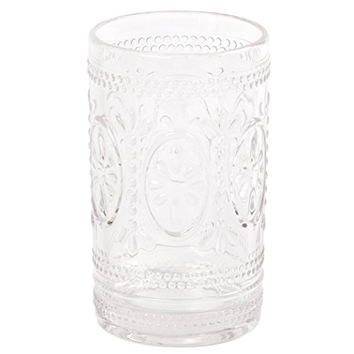 Creative Home Floral Scroll Tradition Clear Glass Bath Set Tumbler, Toothbrush Holder,