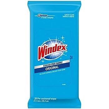 Windex Glass Wipes, Original, 6 Pack, 28 ct