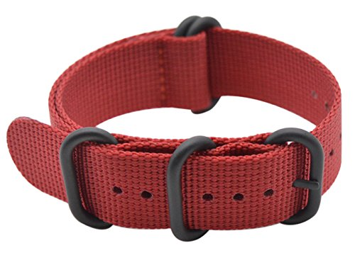- ArtStyle Watch Band with Ballistic Nylon Material Strap and High-End Black Buckle (Matte Finish) (Red, 20mm)