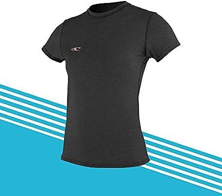 Camiseta de Surf de Manga Corta híbrida para Mujer O;Neill Camiseta Negra, protección Solar UV y propiedades SPF: Amazon.es: Deportes y aire libre