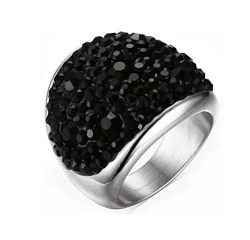Womens Stainless Steel Domed Black CZ Crystal Engagement Ring Promise Wedding, Base,Size 11 (10k Ring Zircon)