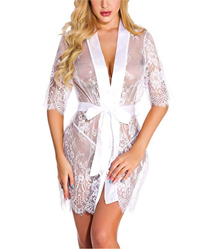 Goldway Women's Sex Lingerie Sexy Lace Robe Lace Night Gown G-String Erotic Lingerie]()