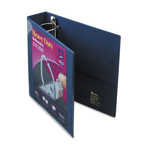 Heavy-Duty View Binder with One Touch EZD Rings, 2'' Capacity, Navy Blue