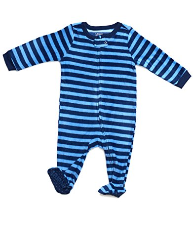 Footed Fleece Sleeper Pajama (6-12 Months, Navy & Blue) by Leveret