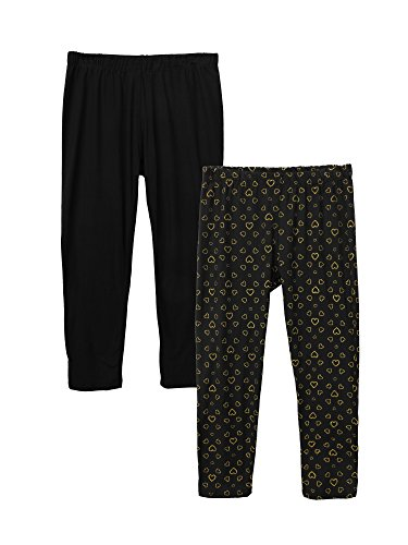 Price comparison product image Crush Toddlers Girls Ity Seamless Plain and Printed 2PK Yummy Fabric Leggings Black / Gold Hearts Black Size 4T