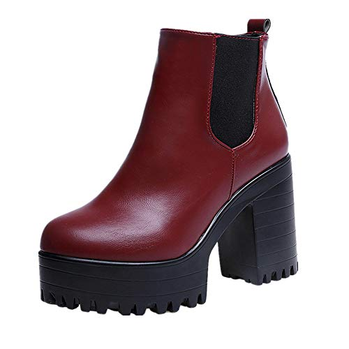 FALAIDUO Women Retro British Martin Boots High Platforms Square Heel Leather Thigh High Pump Boots Solid Shoes Red