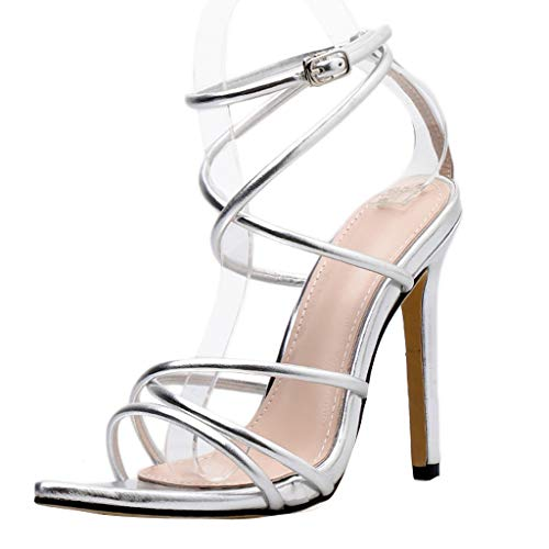 Mysky Women Popular Sexy Criss Cross Strap Peep Toe Pointed Toe Ankle Buckle Prom Party High Heel Sandals Silver