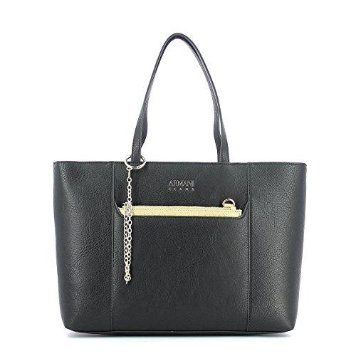 Black Bag Shopper Jeans Leather Armani Chain Eco Leather Black n470q7gwxB