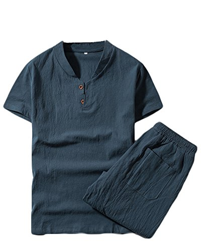 Plus Hombre Chándal Qitunc Corta Cortos Piezas Manga Verano Camiseta Lino Mezcla Azul Size Conjuntos Gris Pantalones De 2 SIdxdqw