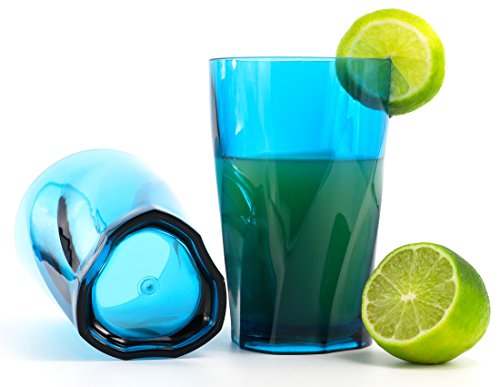 Kreate 14 oz Acrylic Cocktail Glasses - Set of 4 - Triangular Vortex Break-Resistant Plastic - Aqua Blue Highball Tumblers - BPA Free