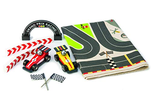 Tender Leaf Toys - Formula One Racing Playmat - Grand Prix Race Track with 2 Wooden Formula One Toy Cars - Encourages Imaginative Play, Improves Hand Eye Coordination and Depth Perception - 3 Year +