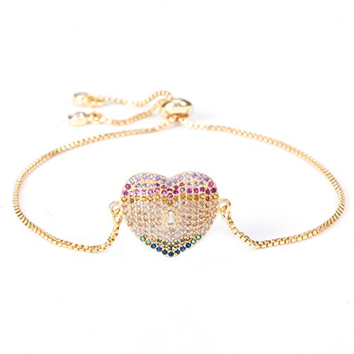 Heart Locket Style (Gold Tone Plated) | Adjustable Bracelet with Multicolor Zircon Stones (Heart Shaped Bracelet Slide)