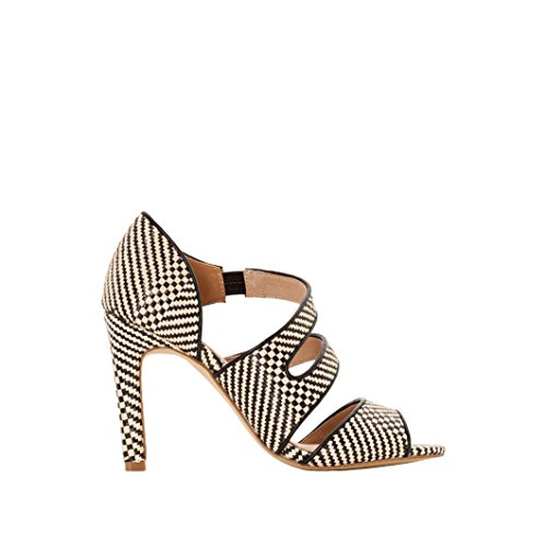 La Redoute Collections Womens Printed Sandals with Asymmetric Straps Fantasia Nero
