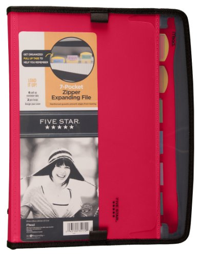 Five Star Expanding File, Customizable, 7-Pockets, 13.75 x 10.75 Inches, Red (72705)