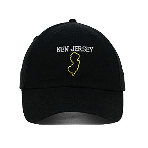 - Speedy Pros New Jersey State Map Embroidery Twill Cotton 6 Panel Low Profile Hat Black