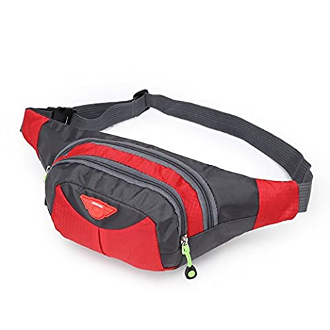 OpetHome Multi-functional Sports Waist Bag for With 3 Zippers for Running Walking Traveling Red (Prime Movies Alexander)