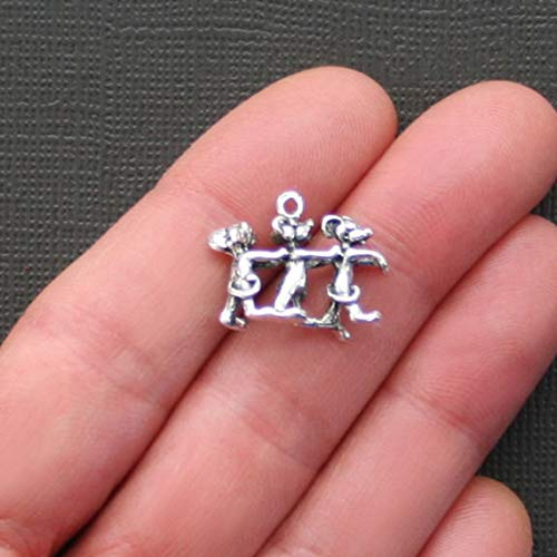 (5 Mouse Charms Antique Silver Tone Just Adorable 3D Three Blind Mice - SC2200)
