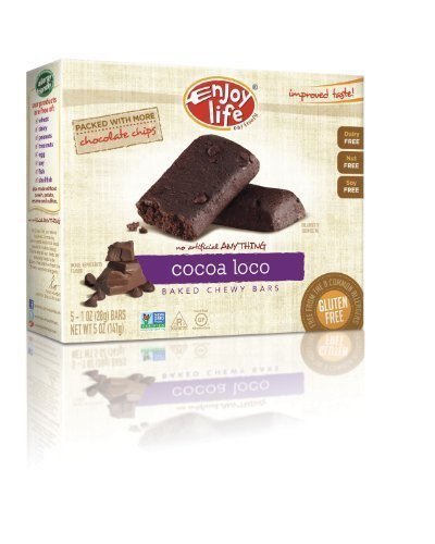 Enjoy Cocoa Loco Chewy On The Go Bars Gluten Dairy & Nut Free Boxes 5 OZ (Pack of 4) by Enjoy Life (Cocoa Loco Snack)