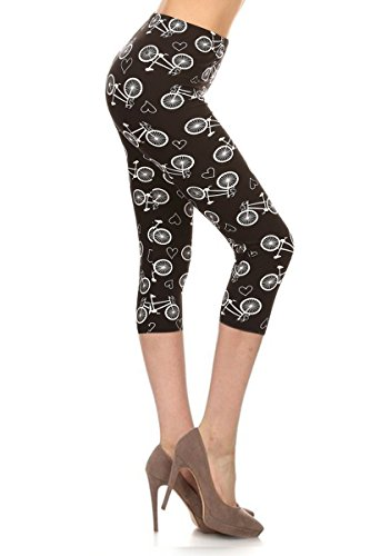 Capri Print Leggings Bicycles and Hearts (R686-CA-OS) -
